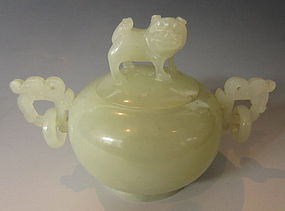 Chinese Jade Lidded Bowl with Dog on Lid