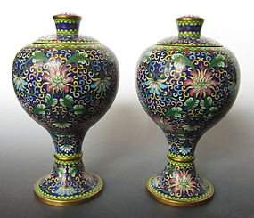 Chinese Antique Pair of Lidded Cloisonne Containers