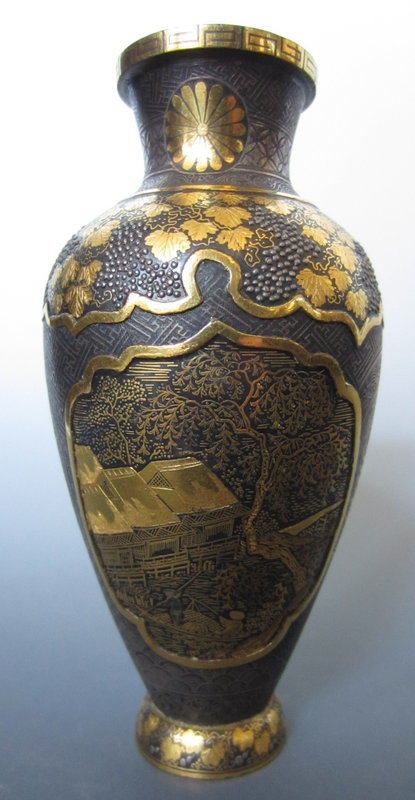 Japanese Antique Damascene Vase with Chrysanthemum Mon