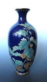 Japanese Cloisonne Vase with Motif of Winter Cherry