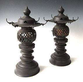 Antique Pair of Japanese Temple Lanterns