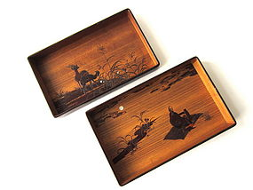 Meiji Period Cherry Bark Pair of Hirobuta Trays