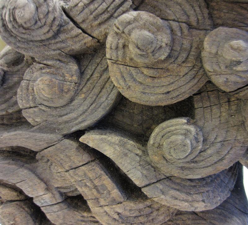 Large Keyaki Wood Fu-Dog Temple Carving