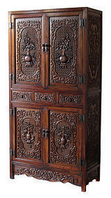 Chinese Highly Carved Huanghuali Cabinet