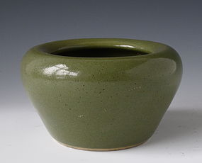 Chinese Green Monochrome Porcelain Brushwasher Bowl