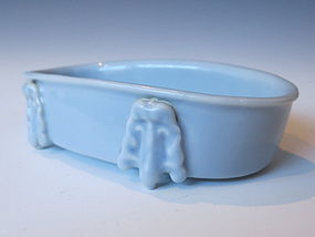Chinese Monochrome Porcelain Oval Shaped Brushwasher