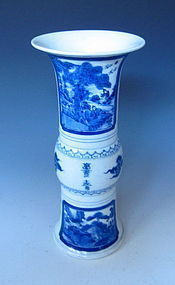 Chinese Blue and White Vase in the form of a Gu