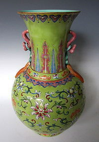 Pale-green Porcelain Vase with Stylized Handles