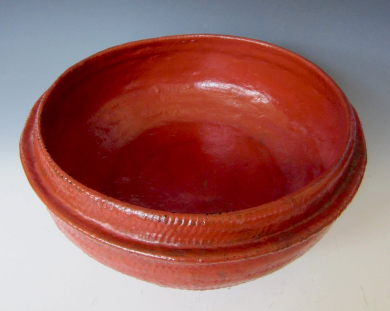 Antique Burmese Red Lacquer Bamboo Basket