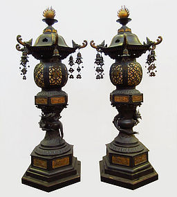 Large Pair of Antique Japanese Bronze Temple Lanterns
