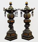 Large Pair of Antique Japanese Bronze Temple Lanterns
