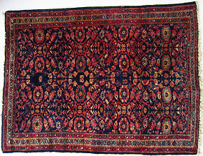 Antique Silk Rug with Floral Pattern