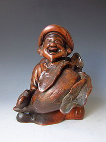 Meiji Period Bizen Figure of Daikoku with Radish