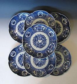 Antique Daiseiji Imari Sometsuke Plates