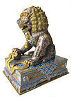 Chinese Antique Pair of Large Cloisonne Lions