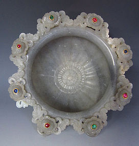 Chinese Qianlong Marble Moghul Bowl with Gems