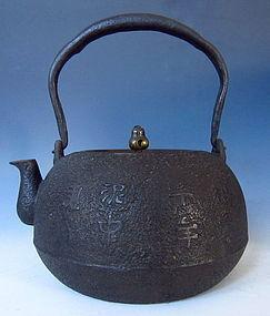 Japanese Antique Iron Tetsubin with Kanji Symbols