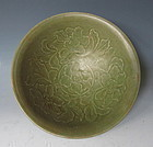 Antique Chinese Peony Motif Celadon Bowl