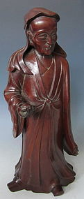 Antique Chinese Hardwood Sculpture of Scholar Sage
