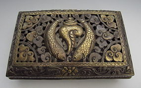 Himalayan Tibetan Gilt and Silver Repousse Box