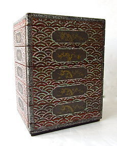 Pair of Inlaid Ryukyu Lacquer Tiered Sweets Box