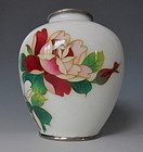 Japanese Cloisonne Vase with Blooming Rose