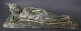 Thai Antique Bronze Mahaparinirvana Buddha