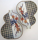 Pair of Japanese Imari Gourd Shaped Dishes