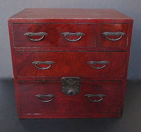 Antique Japanese Keyaki Lacquered Chest