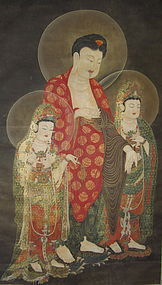 Korean Buddhist Painting Amitabha Triad