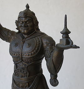 Antique Japanese Bronze Bishamonten