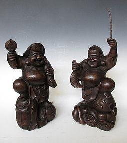 Japanese Keyaki Carving of Daikoku and Ebisu