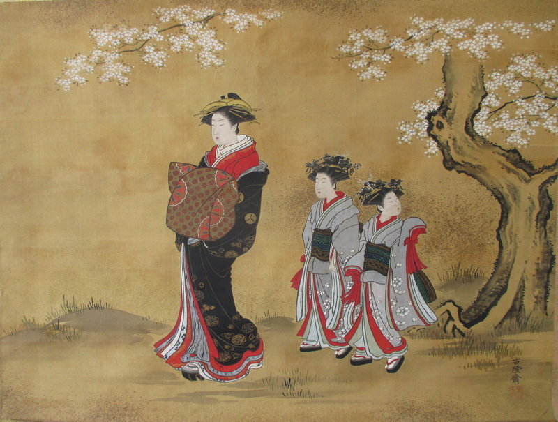 Antique Japanese Scroll Courtesan under Cherry Blossoms