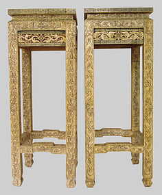 Pair of Antique Chinese Camel Bone Stands