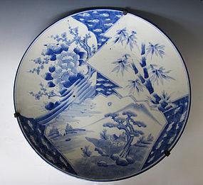 Japanese Blue and White Sho Chiku Bai Imari Charger
