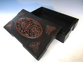 Chinese Hardwood Box with Auspicious Motifs