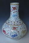 Antique Chinese Fencai Vase Bat and Peach Motif