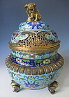 Antique Chinese Fu Dog Cloisonné Tripod Censor