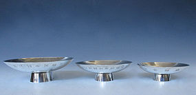 Small Japanese Silver Commemorative Sake Dishes.