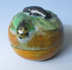 Japanese Persimmon Shaped Incense Container Kogo