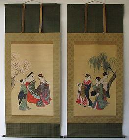 Antique Ukiyoe Image of Beauties Pair Scroll