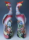 Antique Chinese Pair of Canton Rose Phoenix Birds