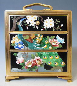 Japanese Cloisonne Box with Drawers and Peacock