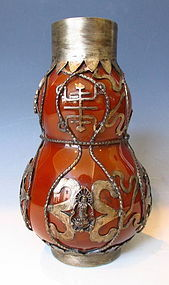 Chinese Peking Glass Vase with Silver Fittings