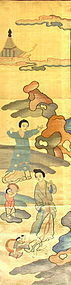 Antique Chinese Wrestling Scene Kesi Panel