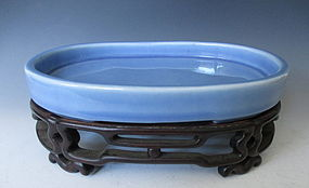 Chinese Pale Blue Monochrome Porcelain Bowl and Stand