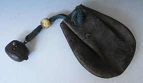 Edo Era Tobacco Pouch with Flint Lock