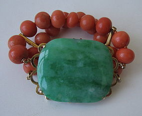 Chinese Jade and Coral Bracelet
