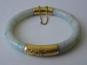 Chinese Jade and Gold Bangle