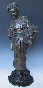 Japanese Bronze Figure of a Lady Selling Fish